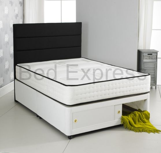 2000 pocket memory foam divan bed storage single 4ft6 for Double divan bed with slide storage