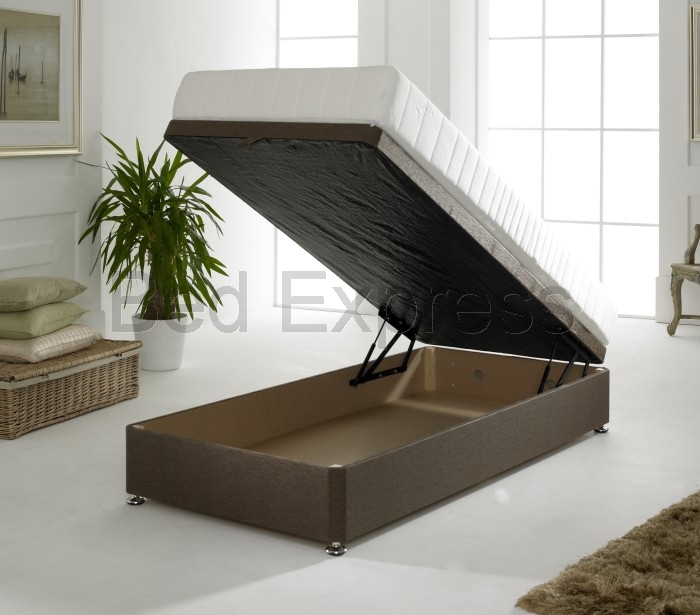Luxury ottoman divan storage bed single double king size for Single divan bed base with storage
