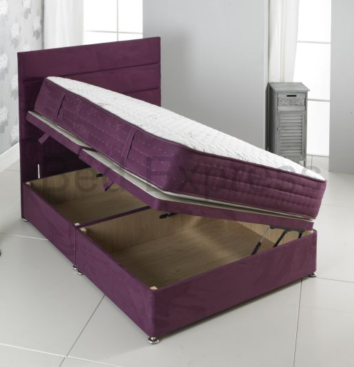 3ft 4ft6 double 5ft king size 6ft super purple suede for Storage divan double bed