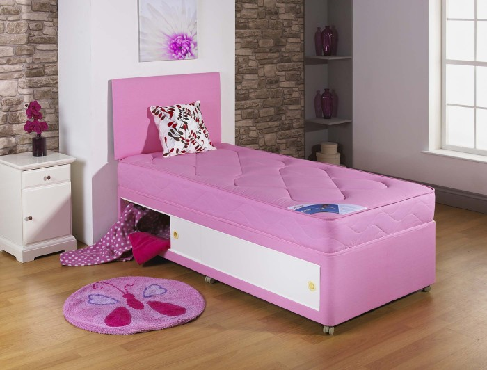 2ft6 3ft single kids quilted pink divan bed with quilted for Single divan bed with slide storage