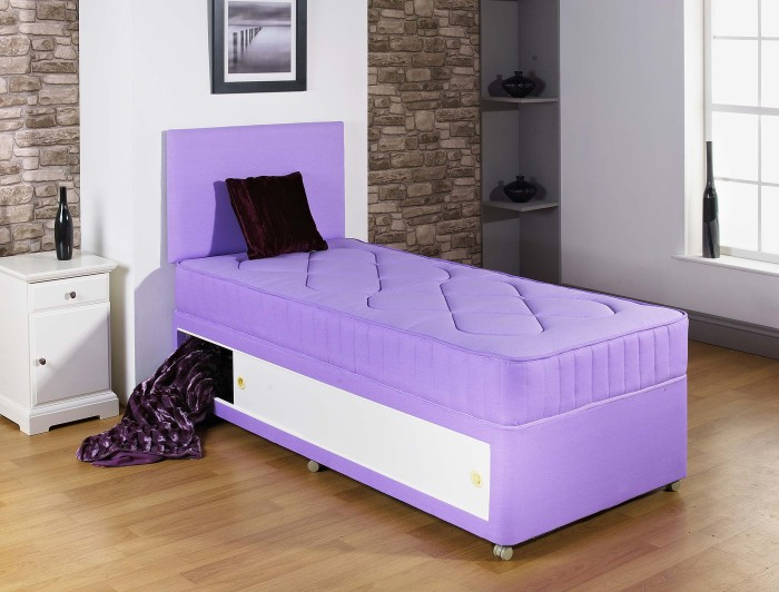 2ft6 3ft single kids quilted lilac divan bed with for 2 6 divan with storage