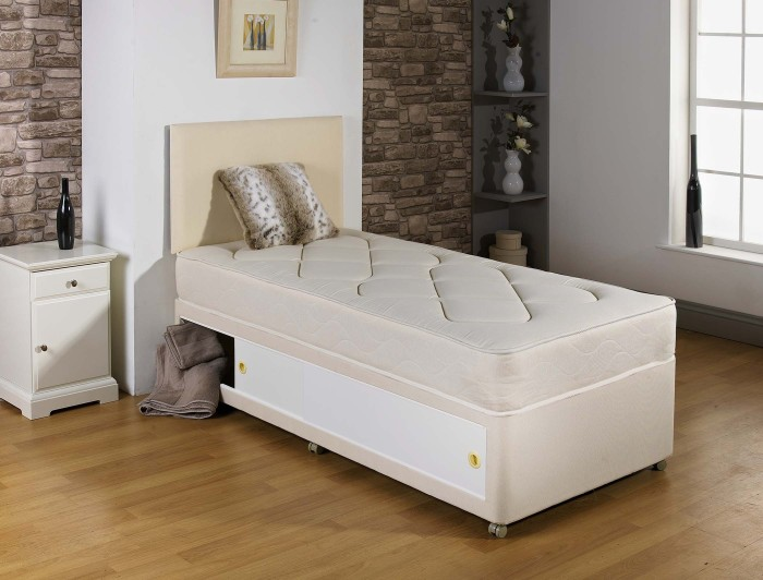 2ft6 3ft single kids quilted cream divan bed with for Cream single divan bed