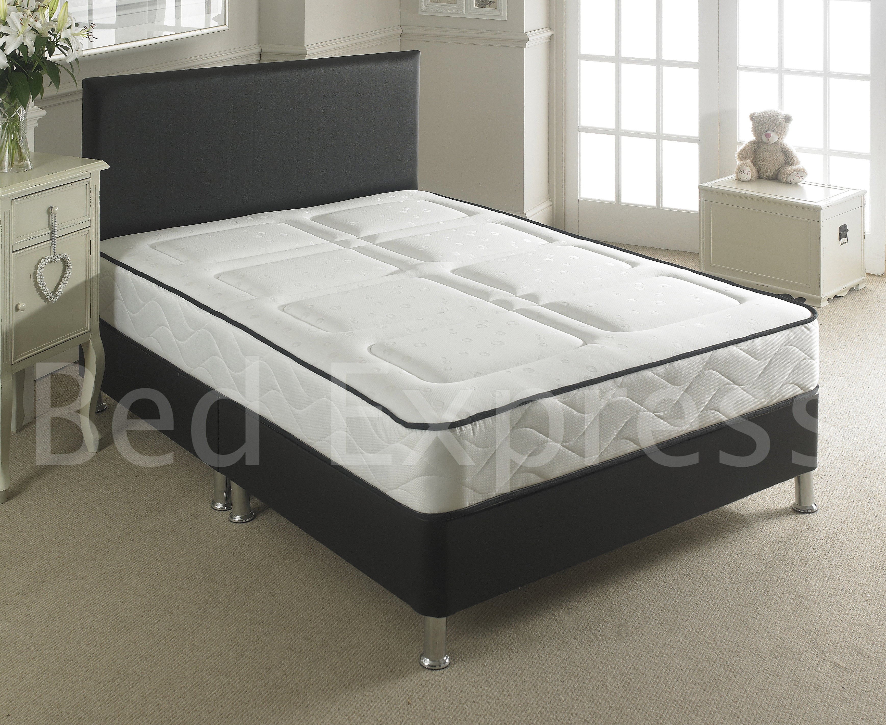 Leather bed small double black brown white with memory for White double divan bed