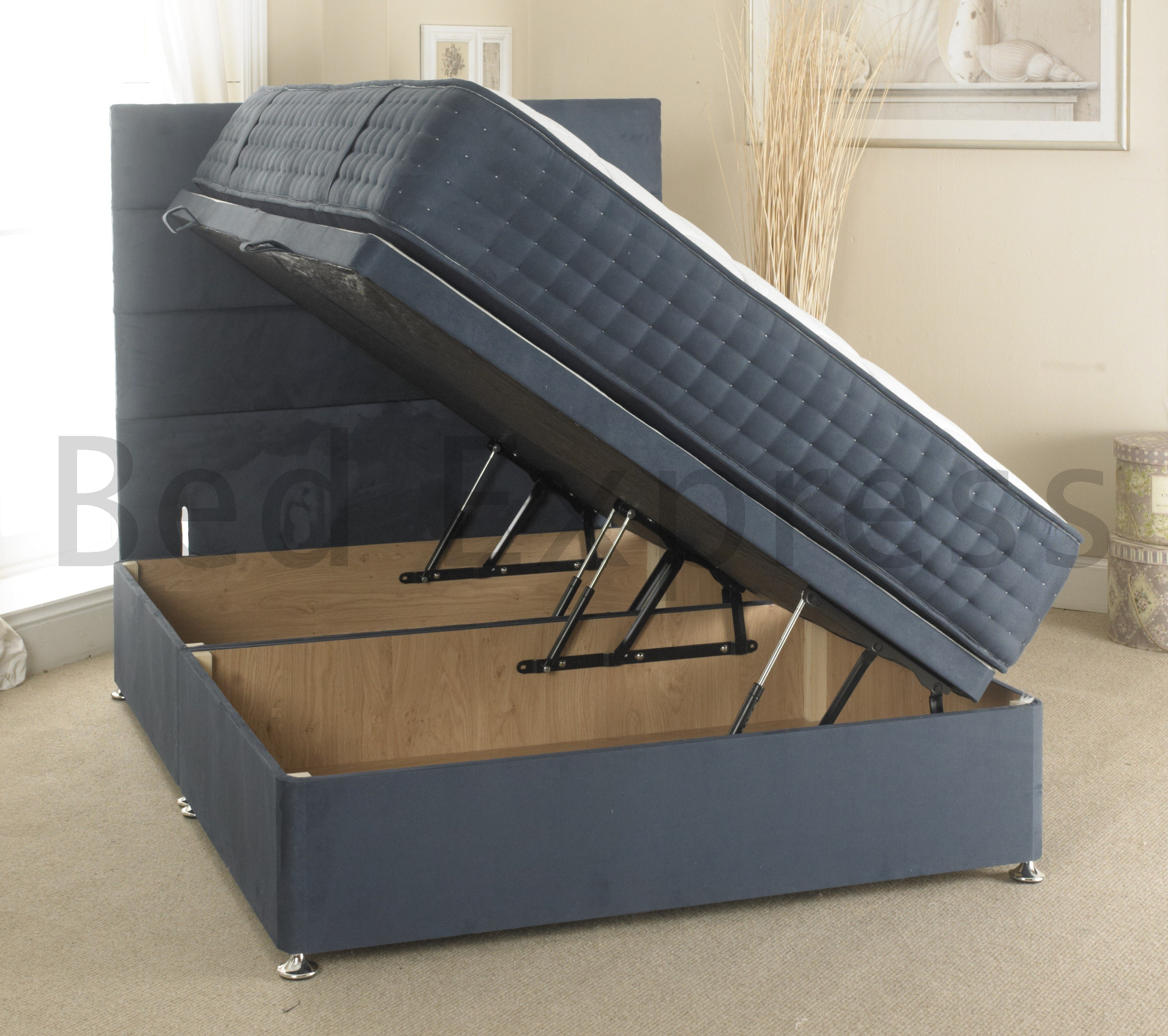 Luxury Ottoman Divan Storage Bed Single Double King Size