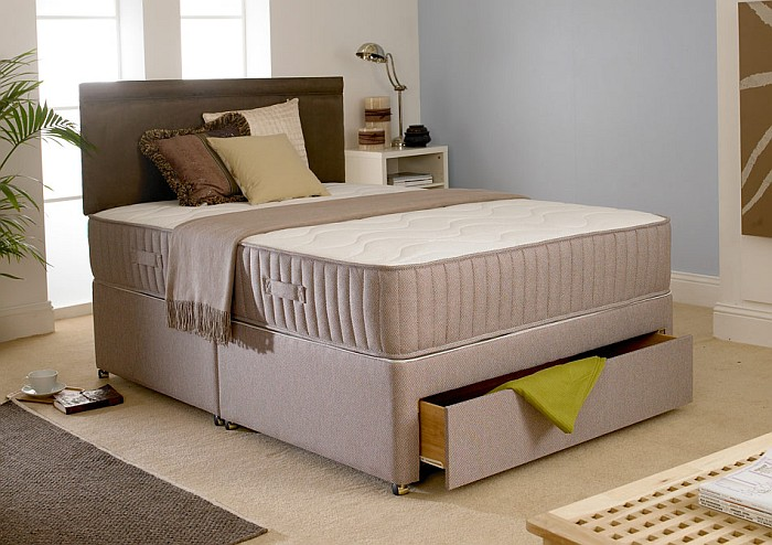 Huge 25cm total mattress depth headboard not included for King size divan bed memory foam