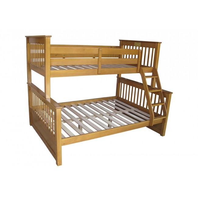 honey wooden triple 3 sleeper bunk bed sturdy including free understorage ebay. Black Bedroom Furniture Sets. Home Design Ideas