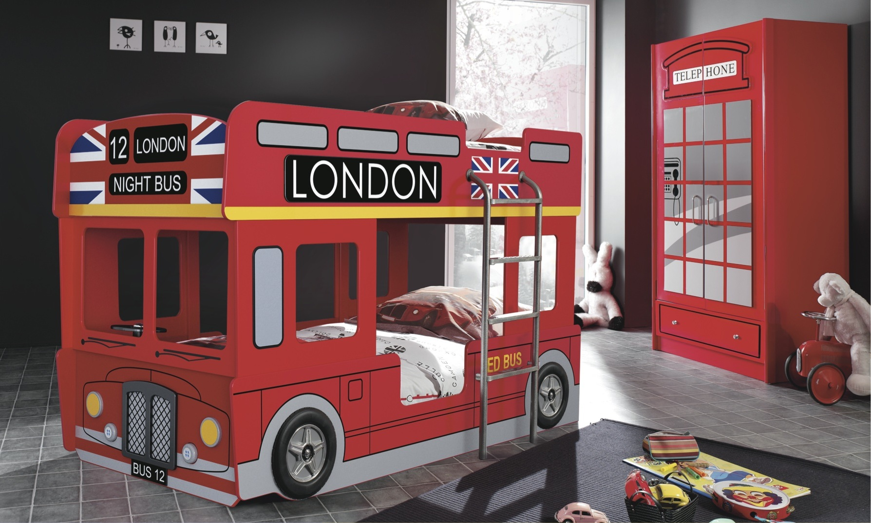 Car bunk beds for kids - Kids London Bus Bunk Bed Choice Of Mattresses
