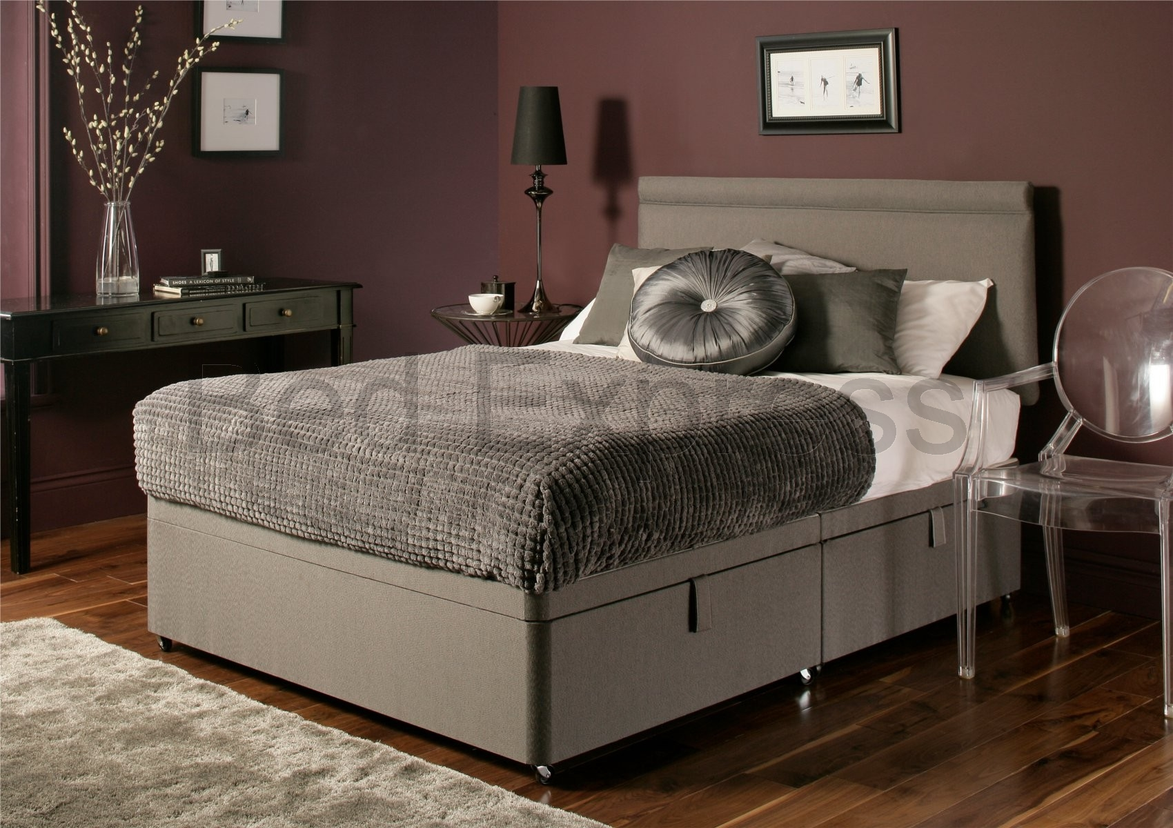 Luxury chenille ottoman divan storage bed single double for New double divan bed