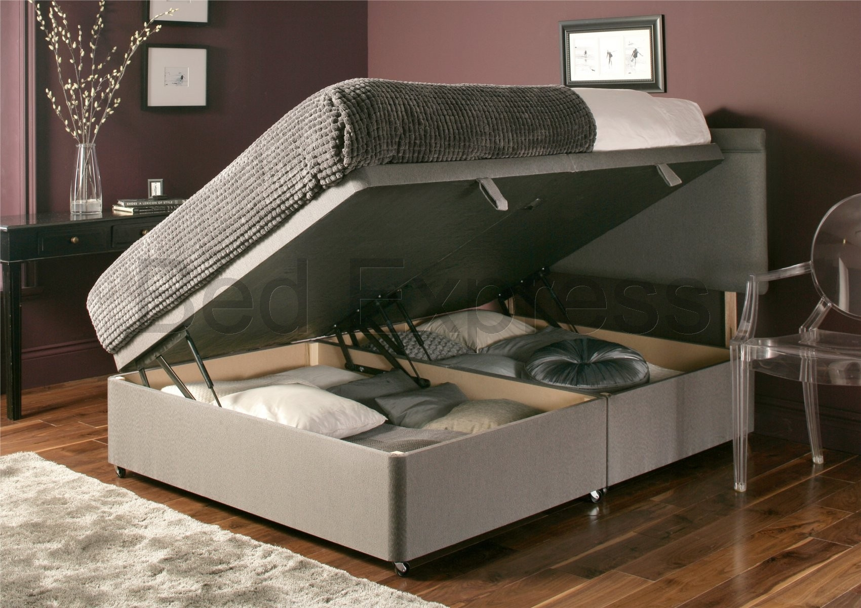 Luxury chenille ottoman divan storage bed single double for Cool beds for small bedrooms