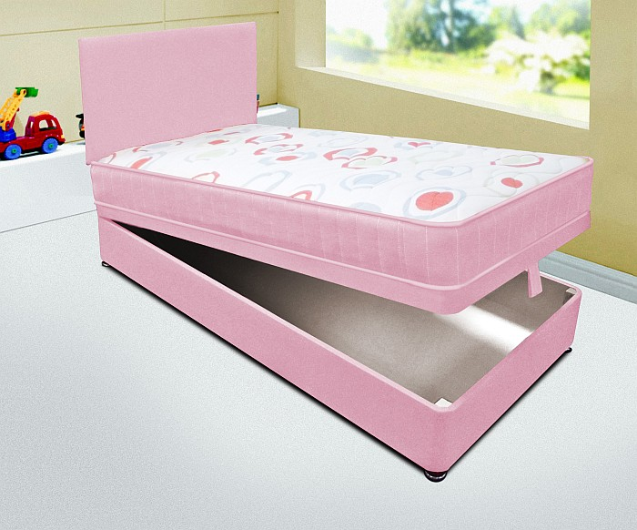 Kids Single 3ft Pink Ottoman Divan Bed With Deep Quilted Mattress Headboard Ebay
