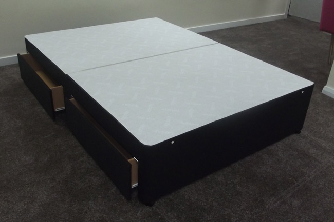 Black cotton divan base bed only with storage drawers for Double divan base with drawers