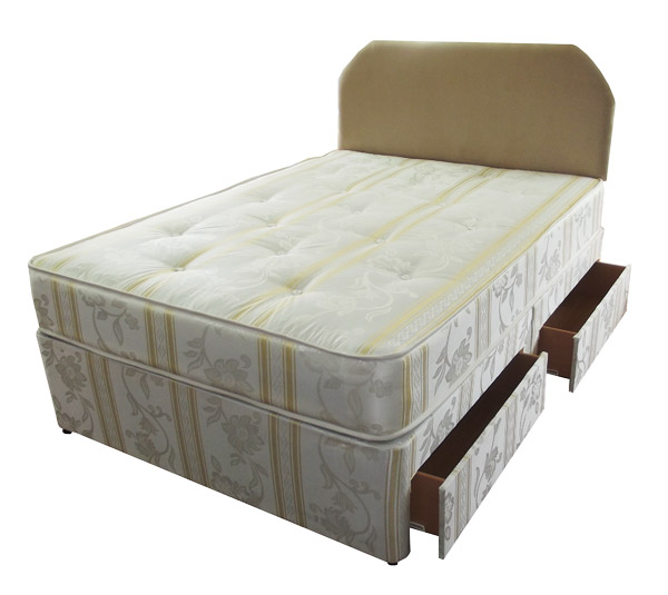 4ft luxury damask small double divan bed with hand tufted for Double divan with drawers