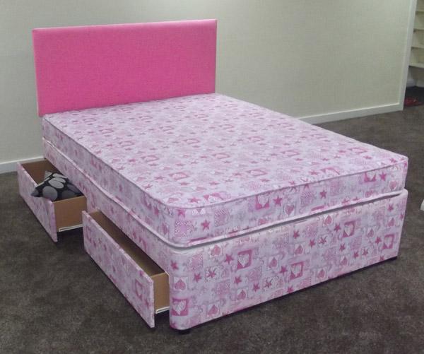 Pink Princess Love Heart Divan Bed With Mattress Little Girl Princess Bed Ebay