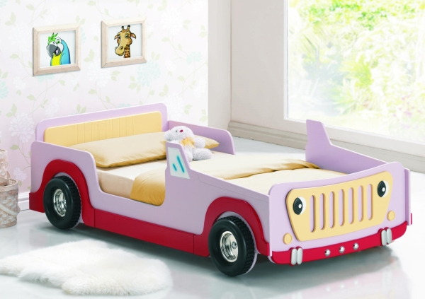 Joseph 3ft single pink jeep bed frame girls kids cheap for Cheap kids bed frames