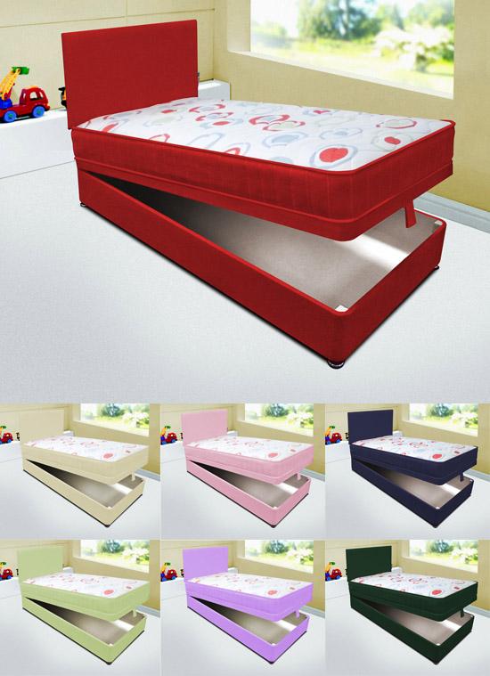 Kids 3ft Single Ottoman Divan Storage Bed Mattress Headboard 7 Colours Ebay